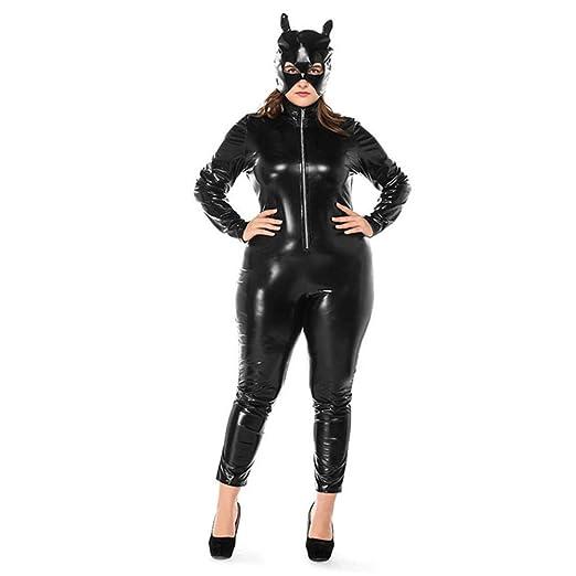 HGUIAZ Mujer Catsuit Mono PU Cuero Catwoman Bodysuit con ...