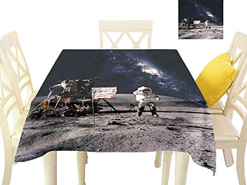 (Angoueleven Galaxy,Wholesale tablecloths Astronaut on Rocky Surface of Moon American Flag USA Rocket Traveling Space Art,Modern Dining Table Cover W 60