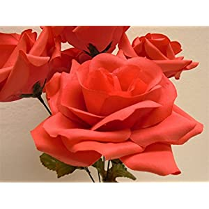 "Phoenix Silk 2 Bushes Open Rose 5 Artificial Silk Flowers 14"" Bouquet 1171 CORAL 49"
