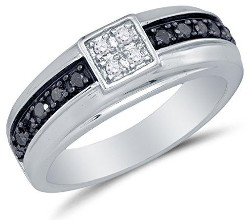 Size 13.5 - 10K White Gold Black & White Round Diamond Me...