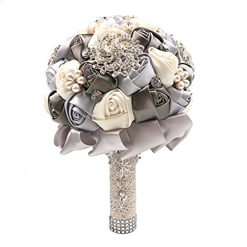 Abbie Home Advanced Customization Romantic Bride Wedding Holding Toss Bouquet Rose with Pearls and Rhinestone Decorative brooches Accessories-Multi Color Selection (Grey)