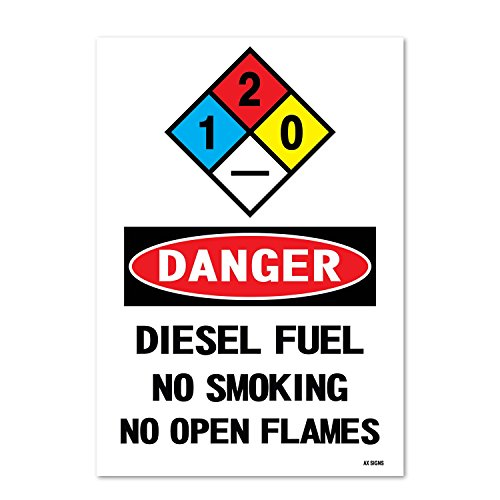 Danger: Diesel Fuel No Smoking No Open Flames, 10 high x 7 Wide, Black/Red on White, Self Adhesive Vinyl Sticker, Indoor and Outdoor Use, Rust Free, UV Protected, Waterproof