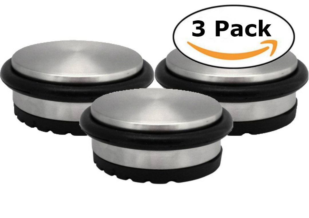 Stainless Steel Door Stopper (3 Pack) 3.6'' x 1.8'' Durable Door Stops with Heavy Duty Rubber Treads - Stylish Weighted Metal Door Stopper for Draft Stopping and Floor & Wall Safety by Bullseye Office