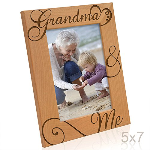KATE POSH Grandma and Me Engraved Natural Wood Picture Frame, I Love You Grandma, Grandparent's Day, Best Grandma Ever, Grandmother Gifts, Grandma & Me, Mother's Day (5x7-Vertical)