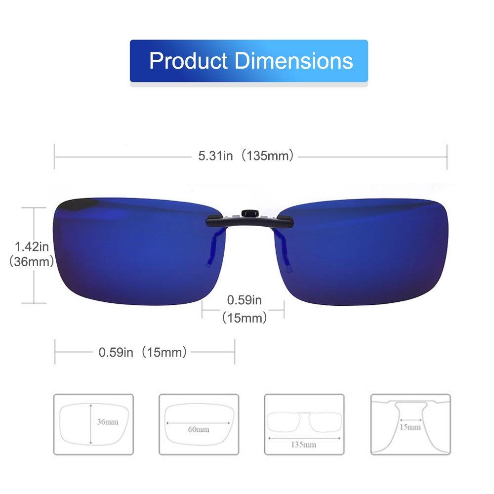 8e7d4fa5e6 TERAISE Polarized Clip-on Sunglasses Over Prescription Glasses Anti-Glare  UV400 for Men Women Driving Travelling ...