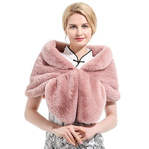 Roniky Womens Winter Faux Fur Wedding Shawl Wrap Stole Shrug Bridal Wedding Cover Up (L, Light pink) ()