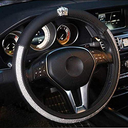 dayutech Steering Wheel Cover Bling Bling Crystal Rhinestones Diamond Universal Fit 15 Inch Car Truck SUV Anti-Slip Leather Wheel Protector for Women Girls (15 inch, Bling Bling Crown)