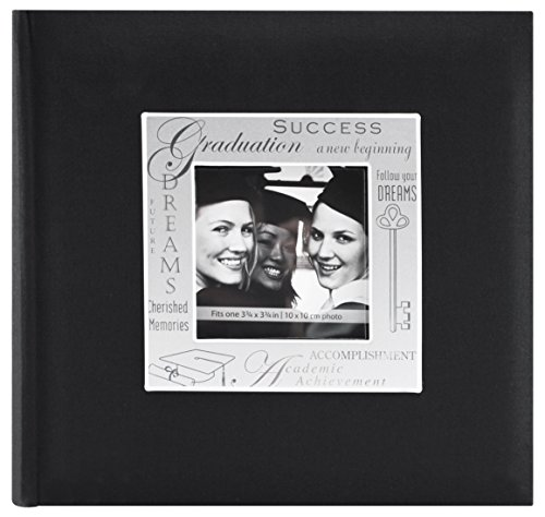 MBI 9x9 Inch Fabric Expressions Graduation Theme Album, Black (846615) -