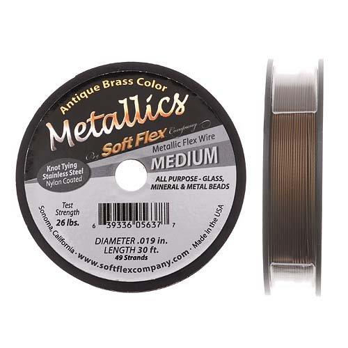(Soft Flex Best Beading Wire Antique Brass .019 Inch - 30 Feet)