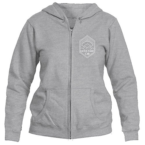 Estes Park, Colorado Mountain Sun Rays - Women's Full-Zip Hooded Sweatshirt/Hoodie (Medium, Sport Grey)