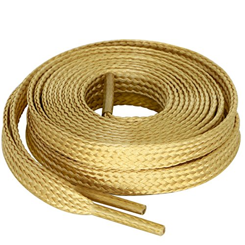 MiracleCat Flat Golden Color Silk Shoelaces for Sport Shoes and Sneakers Length 120CM (Sport Flat Shoelaces)