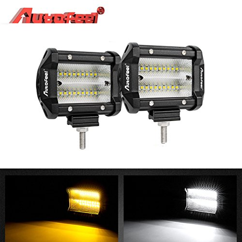 LED Light Bar, Autofeel 4 inch 60W LED Work Light Bar LED Work Light Flashing Amber Light Emergency Lights Fog Light Snow Lights Flood Beam Off Road Lights Driving Fog Light for ATV, SUV