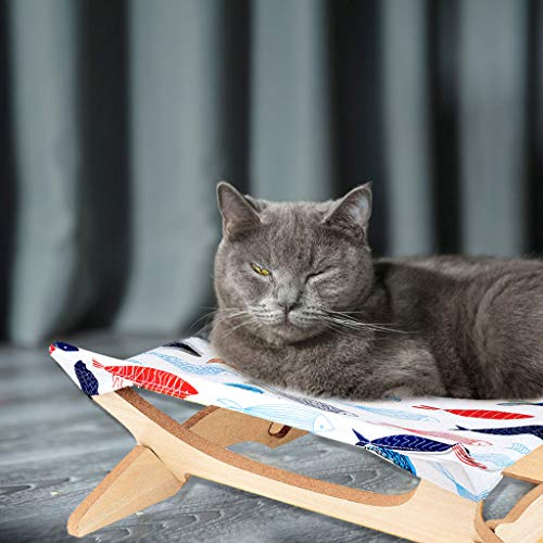Cat Hammock Bed,Kitty summer Resting Sunny Seat-Removable pet Bed Cushion | Hammocks Wood Frame | Comfortable Elevated Pet Stand For Dog, Cat, Ferret, Rat, Puppy or Any Small Animal (16.14'X16.14', C)