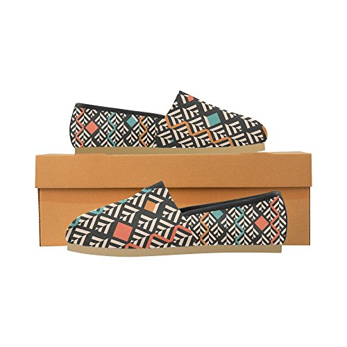 InterestPrint Rock and Roll music hipster Loafers Casual Shoes for Women Abstract Pattern of Geometric Shapes gk7b0tx