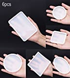 6 Pack Big Designs Resin Molds,Square Round Silicone Jewelry Casting Molds Coaster Molds For Resin Jewelry Making DIY Craft