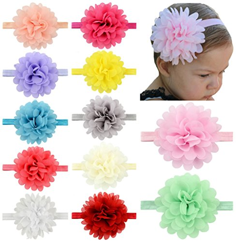 Flower Bow Headband - Baby Headbands Turban Knotted, Girl's Hairbands for Newborn,Toddler and Childrens (Chiffon Flower of 12)