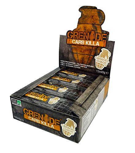Grenade Nutrition – Grenade Carb Killa Protein Bar – High Protein, Low Carb Protein Supplement Bars (Caramel Chaos, 12 Bars)
