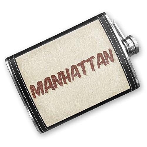 NEONBLOND Flask Manhattan Cocktail, Vintage style Hip Flask PU Leather Stainless Steel Wrapped