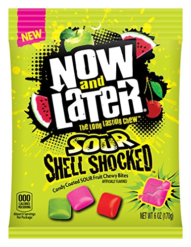 Now & Later Sour Shell Shocked Fruit Chewy Bites Candy, 6 Ounce Bag, Pack of 12