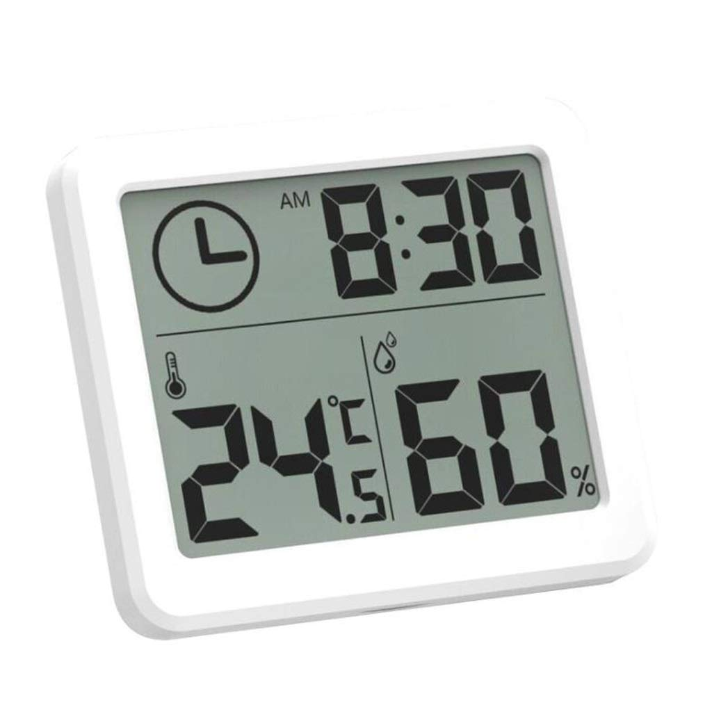 LF stores Weather Clock Weather Station Indoor Thermometer Hygrometer Digital LCD C/F Temperature Humidity Meter Alarm Clock Weather Monitoring Clocks (Color : White) by LF stores
