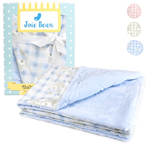 ce Baby Blanket | Soft Warm Double Layer Quilt for Infants and Toddlers |100% Breathable Lightweight Polyester, Swaddle Throw, Embossed Star Bear Pattern (Baby Blue) ()