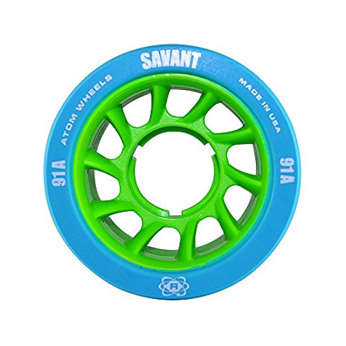 3 Item Bundle - Atom Savant Rink and Derby Roller Skate Wheels - 59mm x 38mm - Available in 5 Hardnesses with Reds Bearings Installed and 3-Way Tool! - 91A Blue