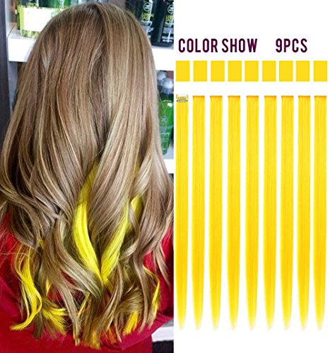 Rhyme Wig Pieces Colored Hair Extensions Clip In/On For Girls and dolls, 9PCS One Set (Pop Art Hair Costume)
