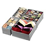 Magicfly Sock Organizer, Foldable Underwear Drawer Organizer, Upgrade Sturdy Closet Storage Divider for Bra Panties Ties Socks, Set of 4, Gray