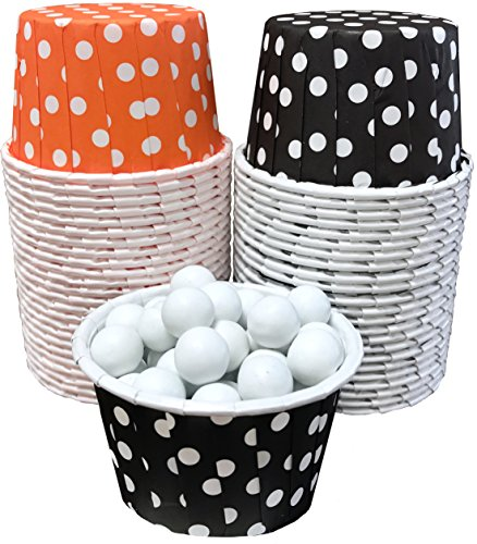 Outside the Box Papers Halloween Black and Orange Polka Dot Candy/Nut/Mini Baking Cups 50 Pack