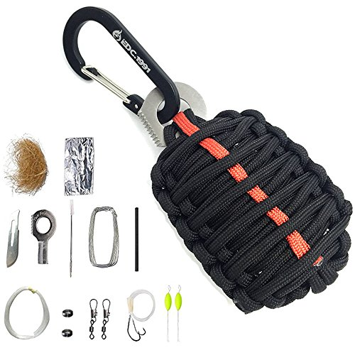 EDC.1991 Professional Emergency Paracord Survival Kit with 12 Outdoor Tools Including Fire Starter/Sharp Striker/Tin Foil/Fishing Line/Fish Hooks (Black)