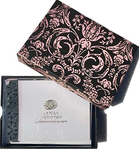 Designs Anna Griffin - Anna Griffin Boxed Black/Pink Foil Collection Correspondence Laser Cut Cards, 20 ct Plus Envelopes in Keepsake Box