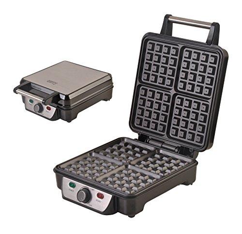 XXL Waffeleisen Waffelautomat für 4 extradicke belgische Waffeln Edelstahl Waffelmaker Thermostat (Bränungsregler)