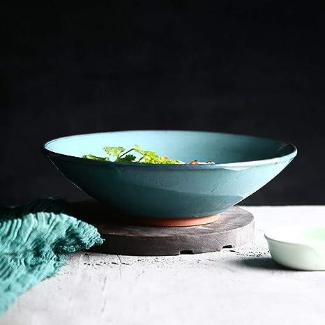 CWJ Cocina Cocina Juego de Cubiertos Plato Creativo Restaurante Plato Plato Occidental, Azul Cielo Cerámica Ramen tazón tazón de Fuente de Fideos Tazón de Mesa japonés Vajilla de Sopa Occidental 1000: Amazon.es: