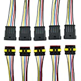 MUYI 5 sets 18AWG Waterproof Electrical Connectors Kit 1.5mm Series Terminal & Rubber Seal with 10cm Wire Weatherpack Connectors (5 pin)