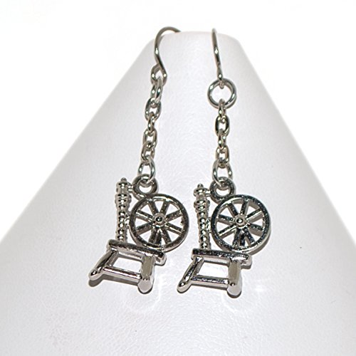 Spinning Wheel Earrings Silver Tone Charms Gift for Woman
