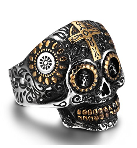 REVOLIA Stainless Steel Rings for Men Skull Punk Rings Cross Vintage Size - Fashion Men Punk