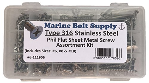 Type 316 Stainless Steel Phillips Drive Flat Head Sheet Metal Screw Kit - Marine Bolt Supply 6-111906