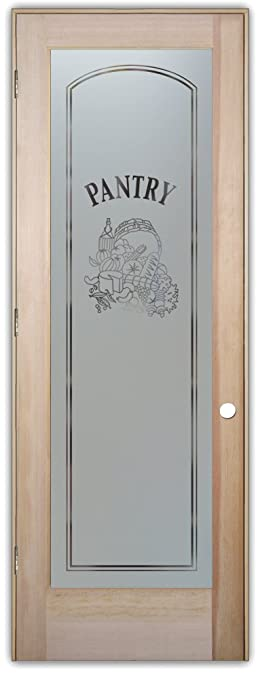 Pantry Door   Sans Soucie Etched Glass Interior Door, Doug Fir, Vino Design  24