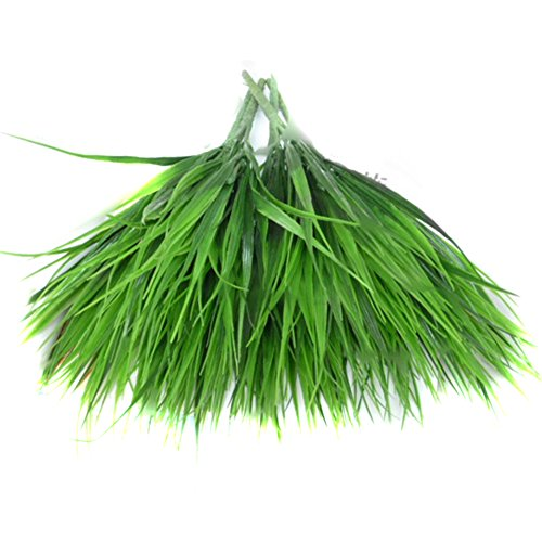 BEIGU Artifical Grass Silk Plants Outdoors Garden Decorations for Home Office Decor Plant Wall,Set of 2