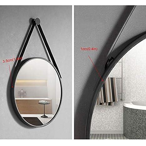 Modern Round Bathroom Mirror With Chain Black Hanging Wall Mirror Vanity Mirror Makeup Mirrors Bedroom Living