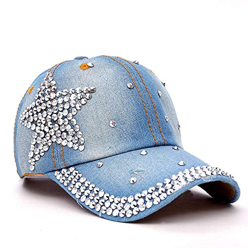 MingDe Sports Rhinestone Crystal Star Snapback Hats for Women Denim Jeans Female Baseball Cap