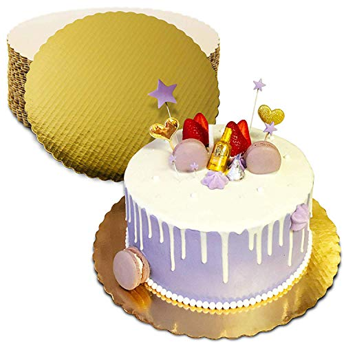 - [20 Pack] 10 Inches Round Cake Boards - Cardboard Disposable Cake Pizza Circle Scalloped Gold Tart Decorating Base Stand