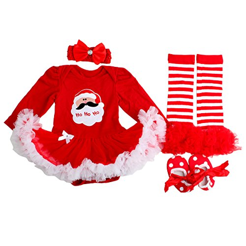 Slowera Baby Girls Christmas Outfits Clothes Red Santa L:9-12Months