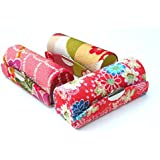 """Random Assorted Colors--Lipstick Case 3pcs Set Lipstick Case w/Mirror,Satin Silky Fabric With Floral Prints Assorted 3.5""""L x 1.25""""W Holds 1pc Standard Lipstick Super Value(We will Random Colors)"""