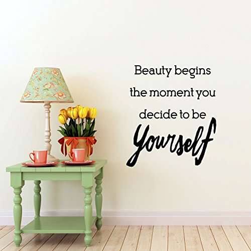 Beauty Begins The Moment You Decide To Be Yourself - Inspirational Women's Quotes - Wall Art Decal - 26''x 23'' - Motivational Life Quote Vinyl Sticker Decals - Bedroom Wall Decor by Pulse Vinyl