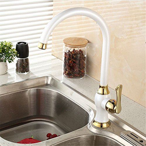 Single-Handle Kitchen Mixer Sink Tap Kitchen Faucet Copper dish kitchen faucet pearl white paint hot and cold water mixing valve single handle faucet with US Standard Fittings