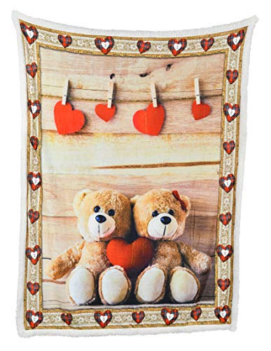 ARAD Super Soft Nap Blanket, White, Fuzzy, Fun, Decorative Teddy Bear Heart Throw