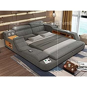 all in one leather double bed frame with speakers storage safe perfect relaxation. Black Bedroom Furniture Sets. Home Design Ideas