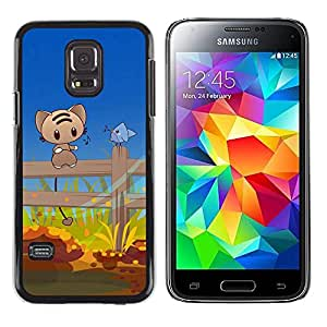 Exotic-Star ( Cute Cat & Bird Friends ) Fundas Cover Cubre Hard Case Cover para Samsung Galaxy S5 Mini / Samsung Galaxy S5 Mini Duos / SM-G800 !!!NOT S5 REGULAR!