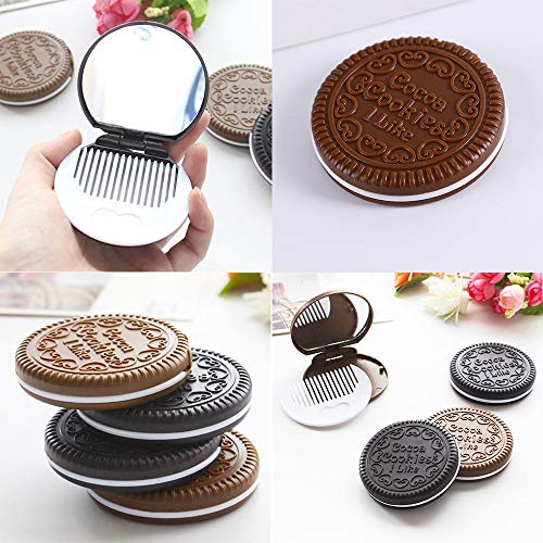 MaxFox Women Girls Mini Pocket Chocolate Cookie Biscuits Compact Mirror with Comb Cute ,Portable Creative Flip Cover Makeup Mirror (Coffee)